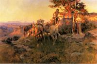 Charles Marion Russell : Watching for Wagons